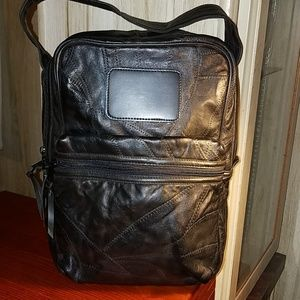 """Black Patch Leather """"Man Purse"""" or Tablet Bag"""